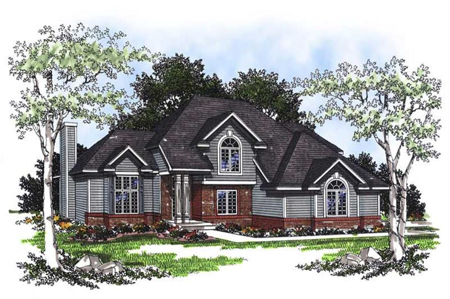 3-Bedroom, 1752 Sq Ft European House Plan - 101-1469 - Front Exterior