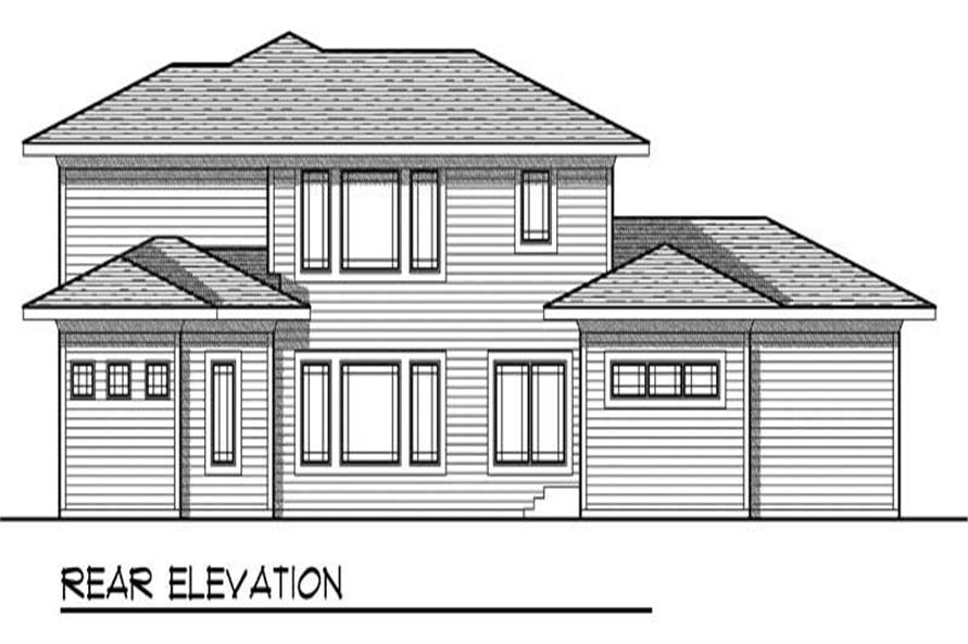 Home Plan Rear Elevation of this 4-Bedroom,2782 Sq Ft Plan -101-1476