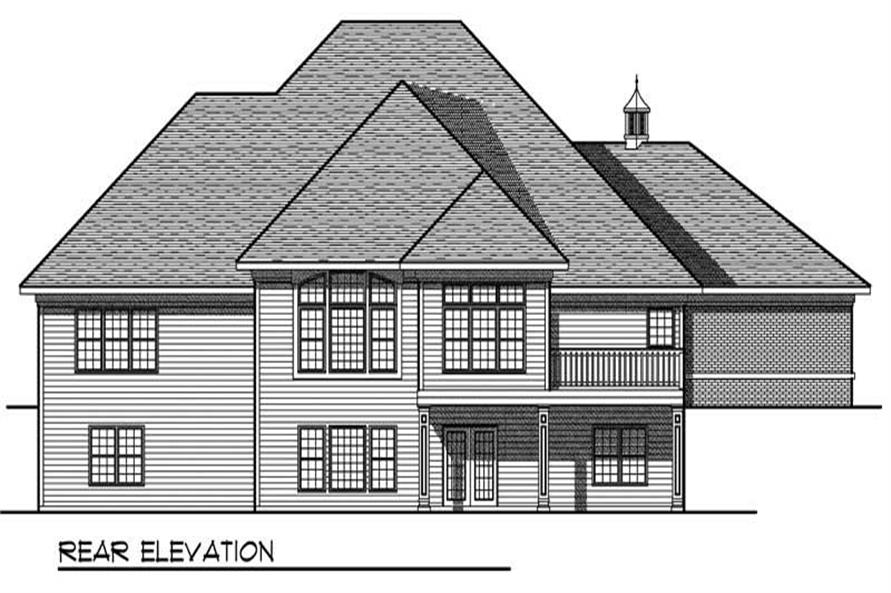 Home Plan Rear Elevation of this 4-Bedroom,4407 Sq Ft Plan -101-1484
