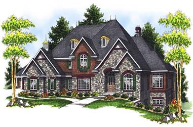 4-Bedroom, 4050 Sq Ft Country Home Plan - 101-1491 - Main Exterior