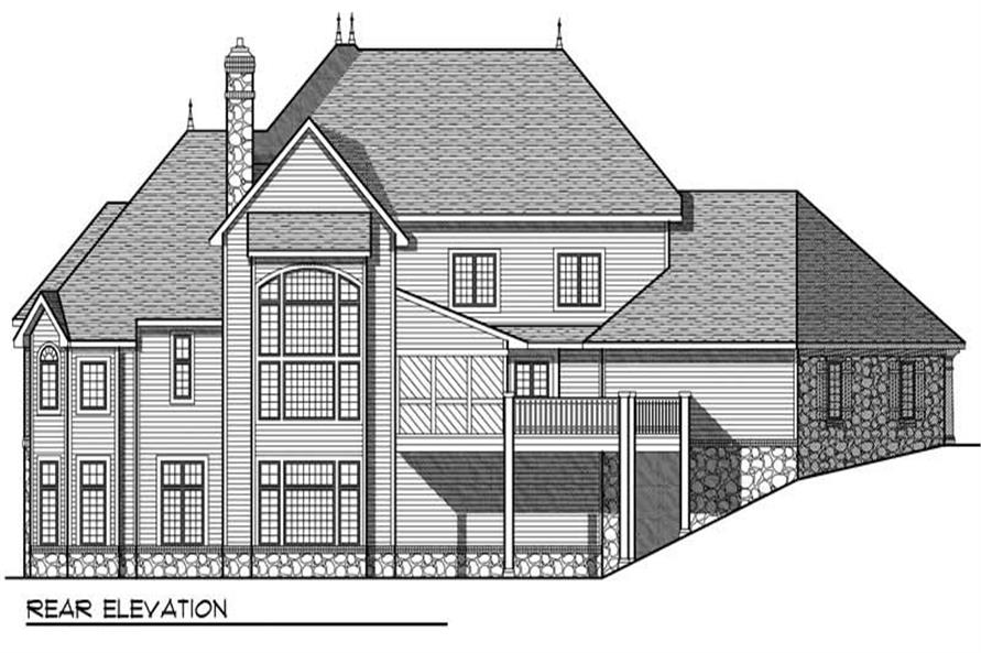 Home Plan Rear Elevation of this 4-Bedroom,4050 Sq Ft Plan -101-1491
