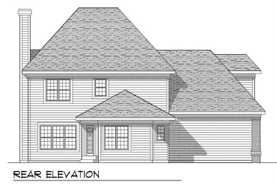 Home Plan Rear Elevation of this 3-Bedroom,2206 Sq Ft Plan -101-1493