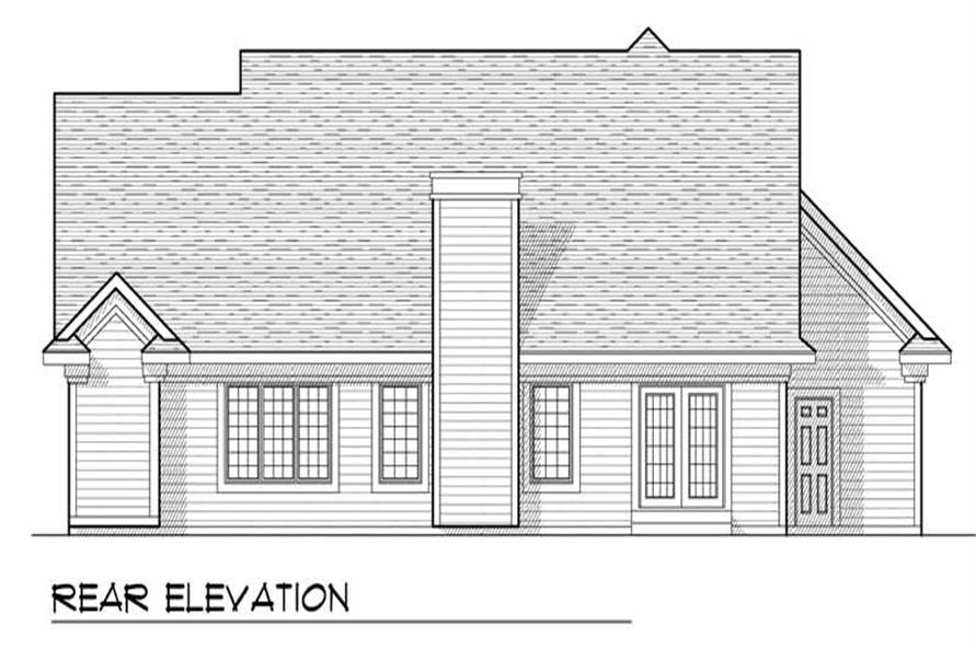 Home Plan Rear Elevation of this 3-Bedroom,1640 Sq Ft Plan -101-1499