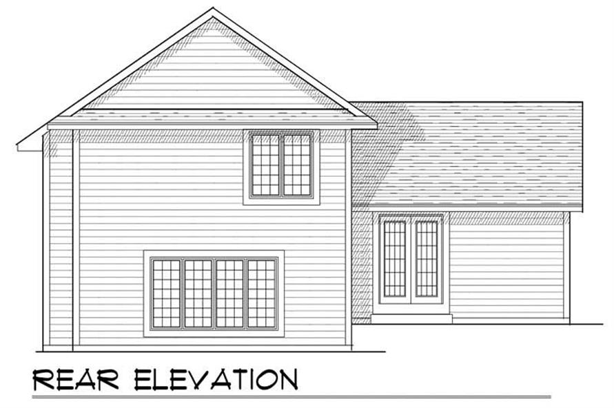 Home Plan Rear Elevation of this 3-Bedroom,1672 Sq Ft Plan -101-1501