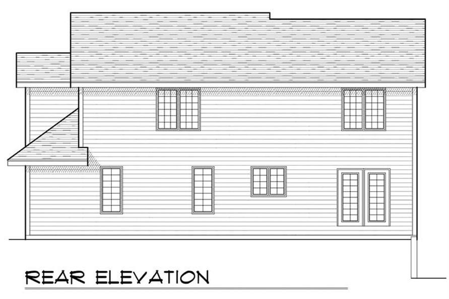 Home Plan Rear Elevation of this 4-Bedroom,1933 Sq Ft Plan -101-1505