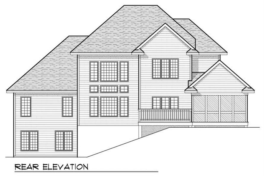 Home Plan Rear Elevation of this 4-Bedroom,3142 Sq Ft Plan -101-1506