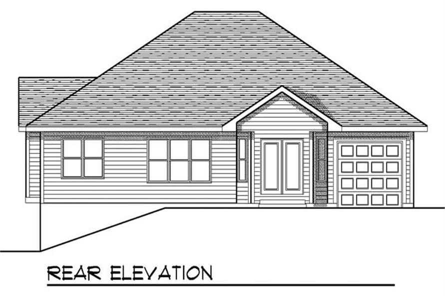 Home Plan Rear Elevation of this 2-Bedroom,1587 Sq Ft Plan -101-1509