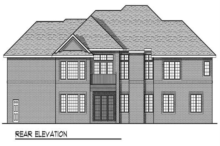Home Plan Rear Elevation of this 4-Bedroom,3863 Sq Ft Plan -101-1512