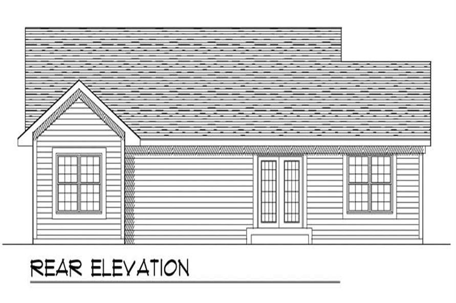Home Plan Rear Elevation of this 3-Bedroom,1274 Sq Ft Plan -101-1528