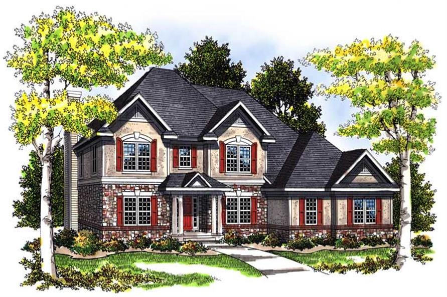 4-Bedroom, 2891 Sq Ft Country House Plan - 101-1534 - Front Exterior