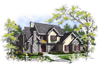 4-Bedroom, 3794 Sq Ft European House Plan - 101-1535 - Front Exterior