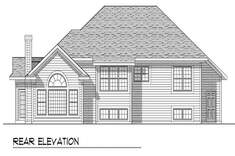 Home Plan Rear Elevation of this 3-Bedroom,1892 Sq Ft Plan -101-1539