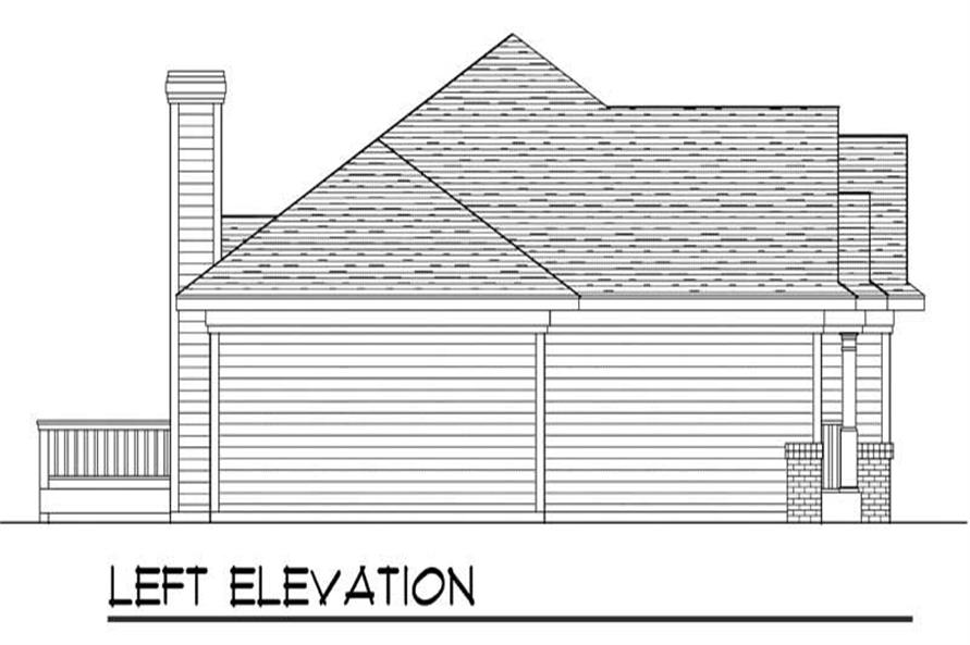 Home Plan Left Elevation of this 3-Bedroom,1461 Sq Ft Plan -101-1541