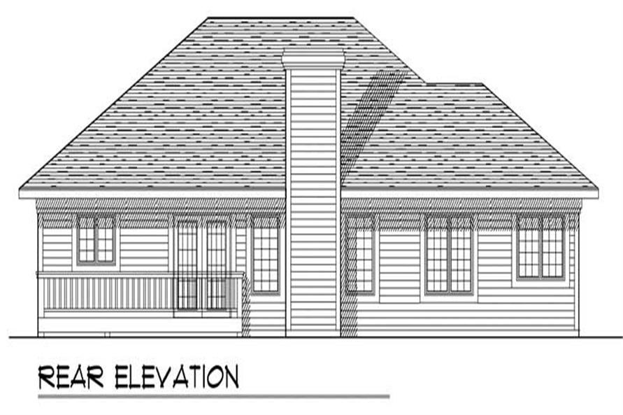 Home Plan Rear Elevation of this 3-Bedroom,1461 Sq Ft Plan -101-1541