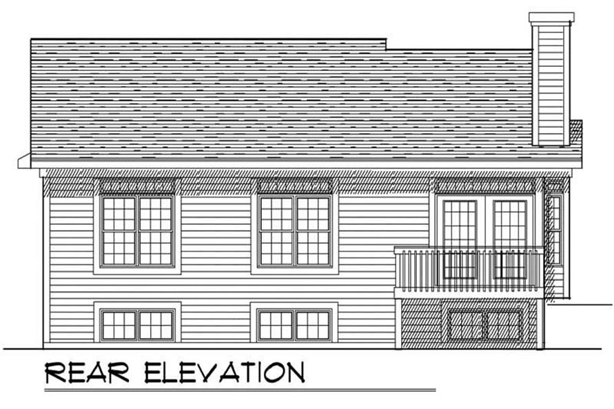 Home Plan Rear Elevation of this 2-Bedroom,1281 Sq Ft Plan -101-1546
