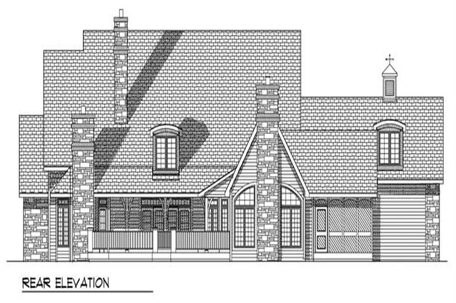 Home Plan Rear Elevation of this 3-Bedroom,3728 Sq Ft Plan -101-1548