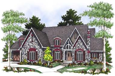3-Bedroom, 3728 Sq Ft French House Plan - 101-1548 - Front Exterior