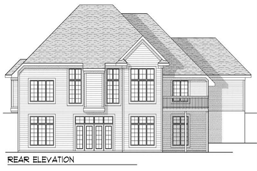 Home Plan Rear Elevation of this 4-Bedroom,3771 Sq Ft Plan -101-1556