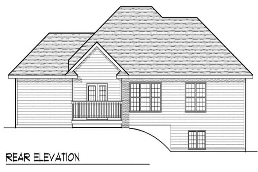 Home Plan Rear Elevation of this 3-Bedroom,1636 Sq Ft Plan -101-1561