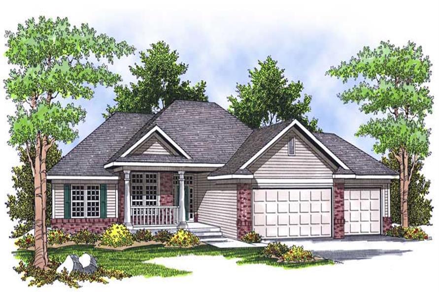 Home Plan Rendering of this 3-Bedroom,1636 Sq Ft Plan -101-1561