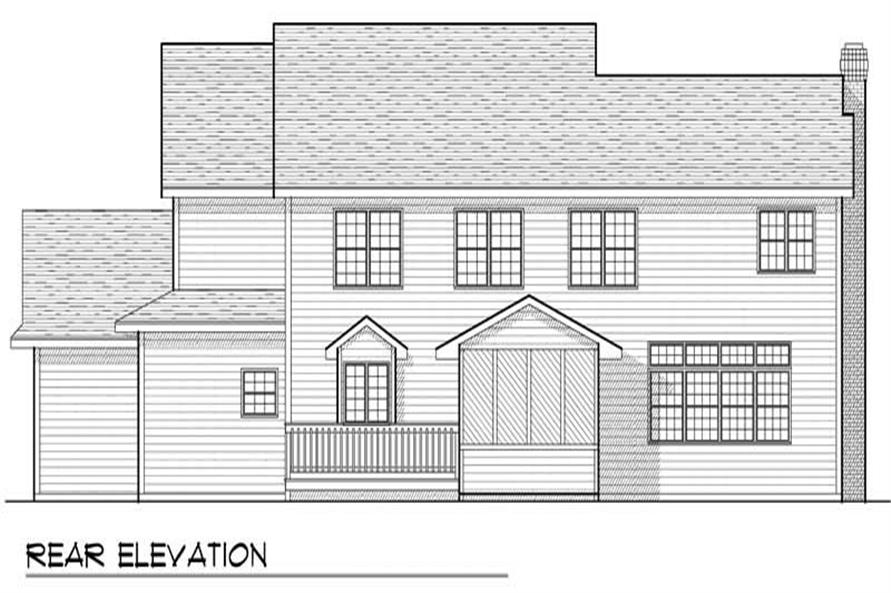 Home Plan Rear Elevation of this 4-Bedroom,2745 Sq Ft Plan -101-1563