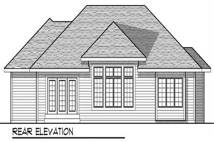 Home Plan Rear Elevation of this 3-Bedroom,1844 Sq Ft Plan -101-1566