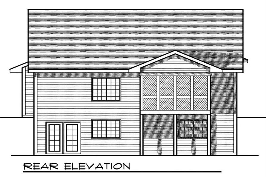 Home Plan Rear Elevation of this 3-Bedroom,1918 Sq Ft Plan -101-1568