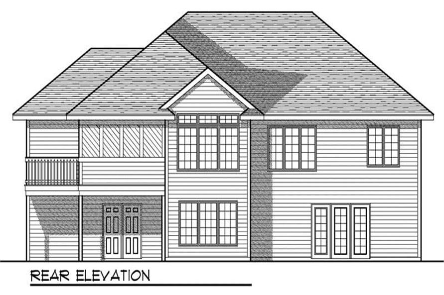 Home Plan Rear Elevation of this 4-Bedroom,2524 Sq Ft Plan -101-1569