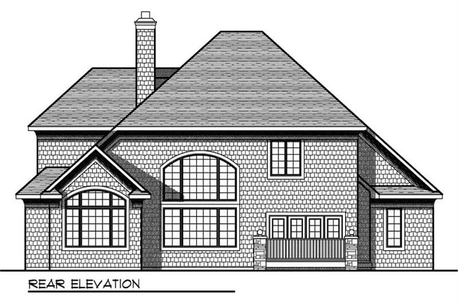 Home Plan Rear Elevation of this 4-Bedroom,3256 Sq Ft Plan -101-1573