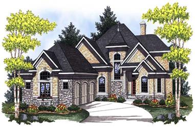 4-Bedroom, 3256 Sq Ft French Home Plan - 101-1573 - Main Exterior