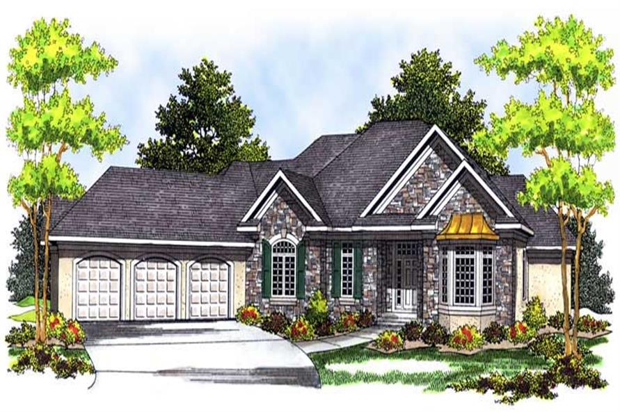 3-Bedroom, 3174 Sq Ft Country Home Plan - 101-1574 - Main Exterior