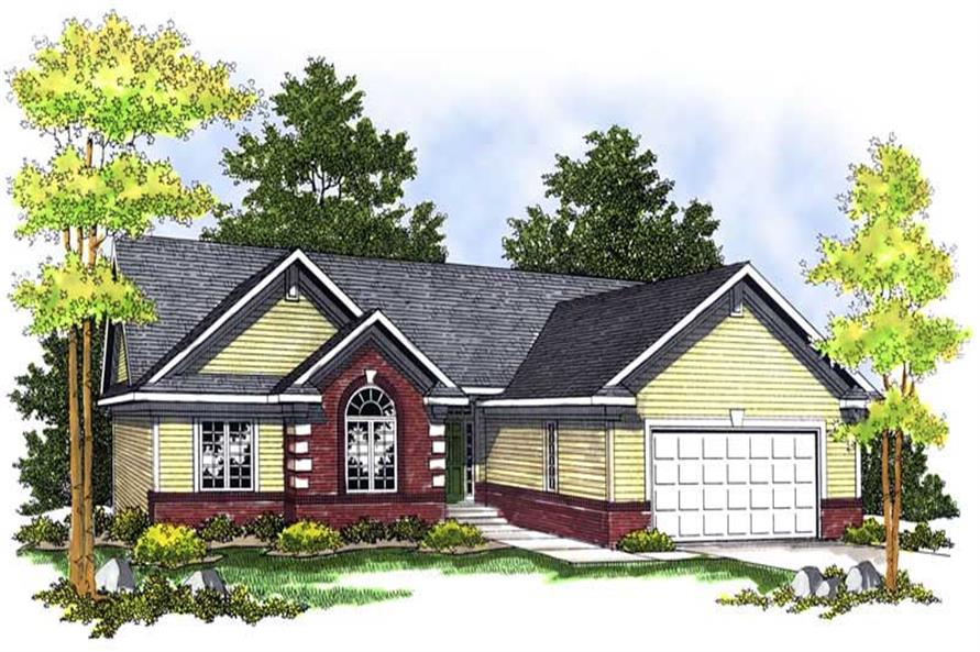 3-Bedroom, 1606 Sq Ft Ranch Home Plan - 101-1582 - Main Exterior