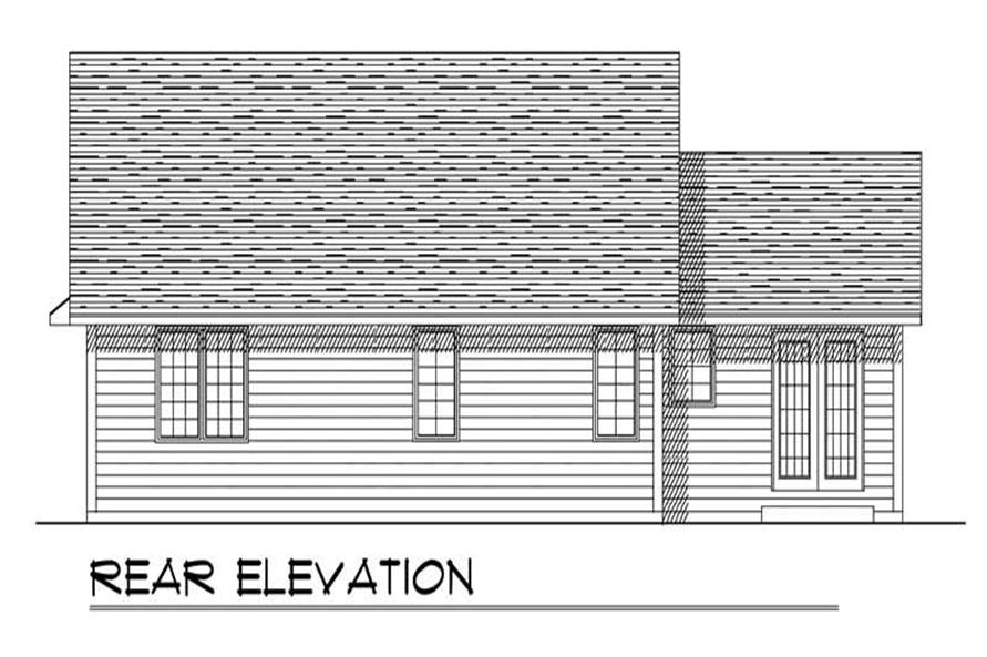 Home Plan Rear Elevation of this 3-Bedroom,1370 Sq Ft Plan -101-1606