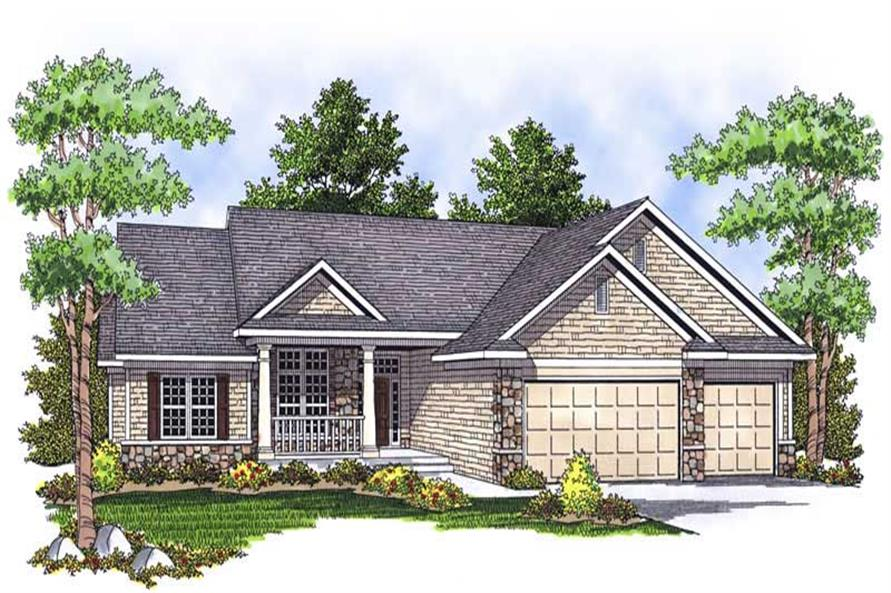 3-Bedroom, 1922 Sq Ft Ranch Home Plan - 101-1610 - Main Exterior