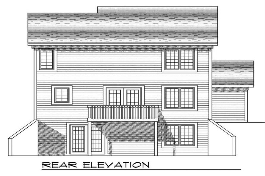 Home Plan Rear Elevation of this 3-Bedroom,1585 Sq Ft Plan -101-1613