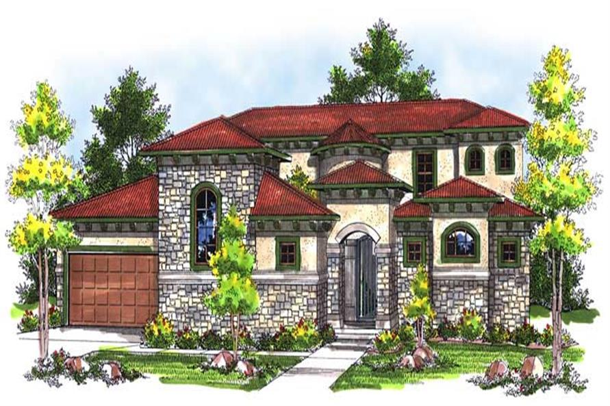 4-Bedroom, 3101 Sq Ft Mediterranean House Plan - 101-1616 - Front Exterior