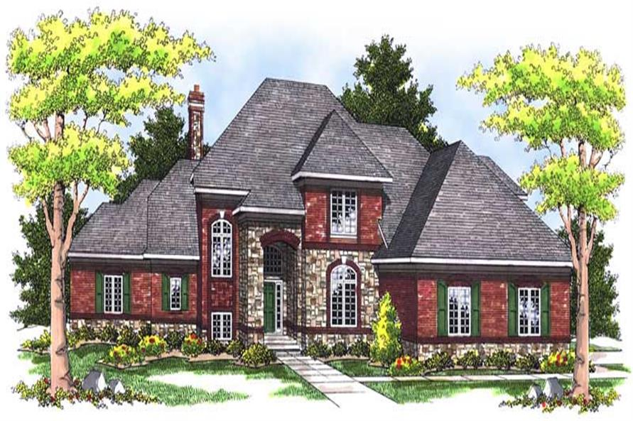 4-Bedroom, 3527 Sq Ft European Home Plan - 101-1623 - Main Exterior
