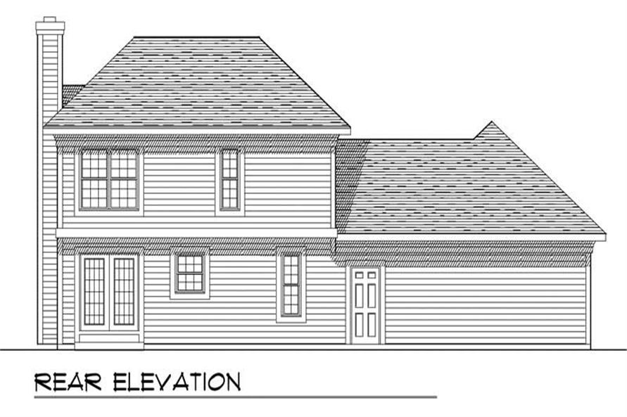 Home Plan Rear Elevation of this 3-Bedroom,1561 Sq Ft Plan -101-1631