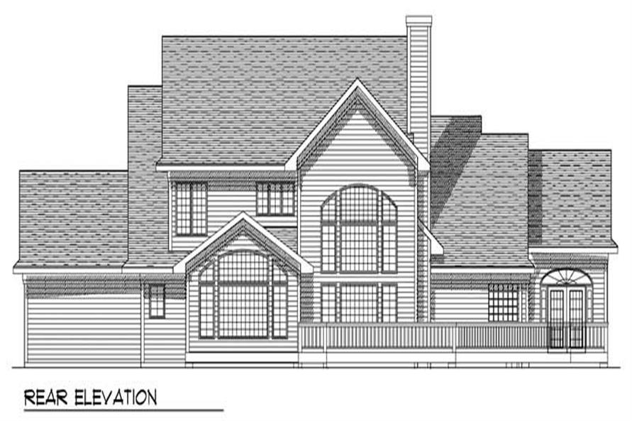 Home Plan Rear Elevation of this 4-Bedroom,3021 Sq Ft Plan -101-1632