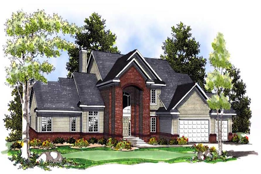 4-Bedroom, 3021 Sq Ft Colonial Home Plan - 101-1632 - Main Exterior