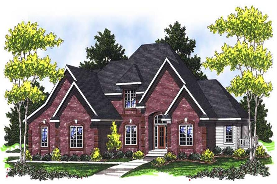 3-Bedroom, 2745 Sq Ft European Home Plan - 101-1670 - Main Exterior