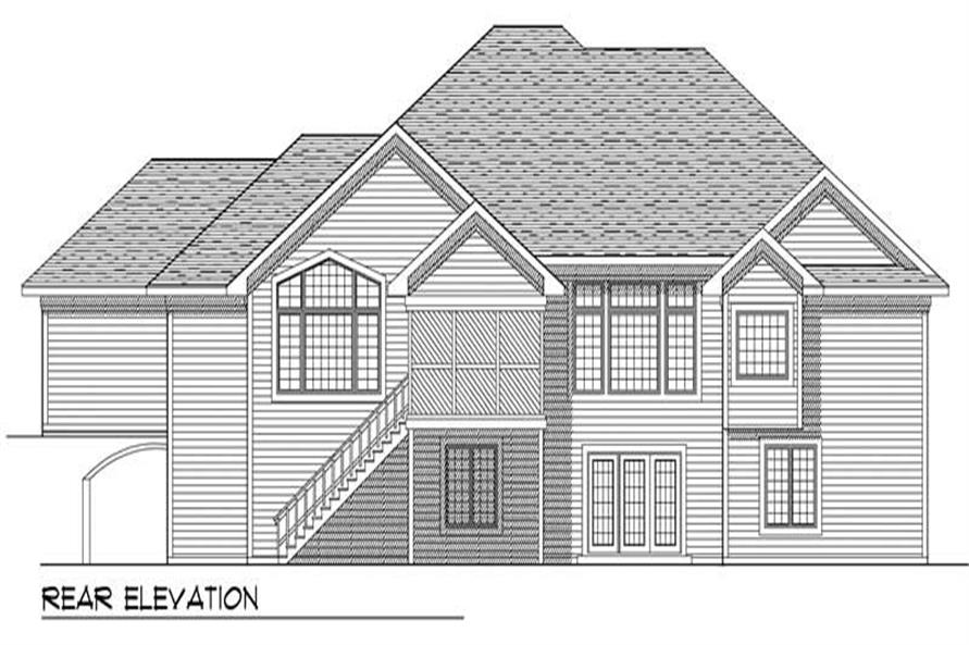 Home Plan Rear Elevation of this 4-Bedroom,4480 Sq Ft Plan -101-1673