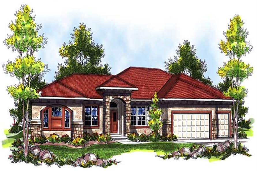 3-Bedroom, 3002 Sq Ft Mediterranean House Plan - 101-1675 - Front Exterior