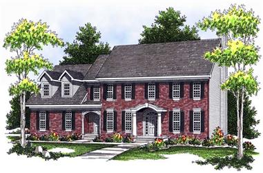 4-Bedroom, 3404 Sq Ft Colonial Home Plan - 101-1682 - Main Exterior