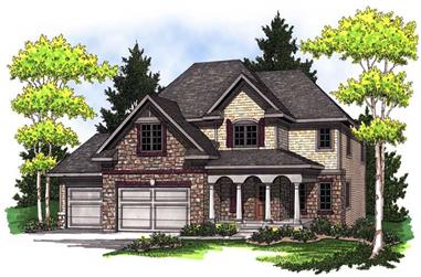 4-Bedroom, 2249 Sq Ft Colonial Home Plan - 101-1686 - Main Exterior