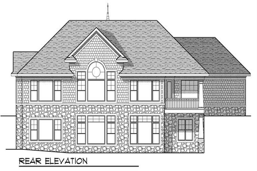 Home Plan Rear Elevation of this 4-Bedroom,3909 Sq Ft Plan -101-1702