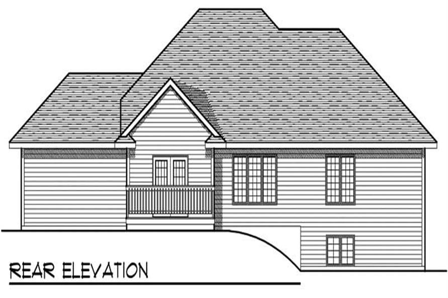 Home Plan Rear Elevation of this 3-Bedroom,1686 Sq Ft Plan -101-1705