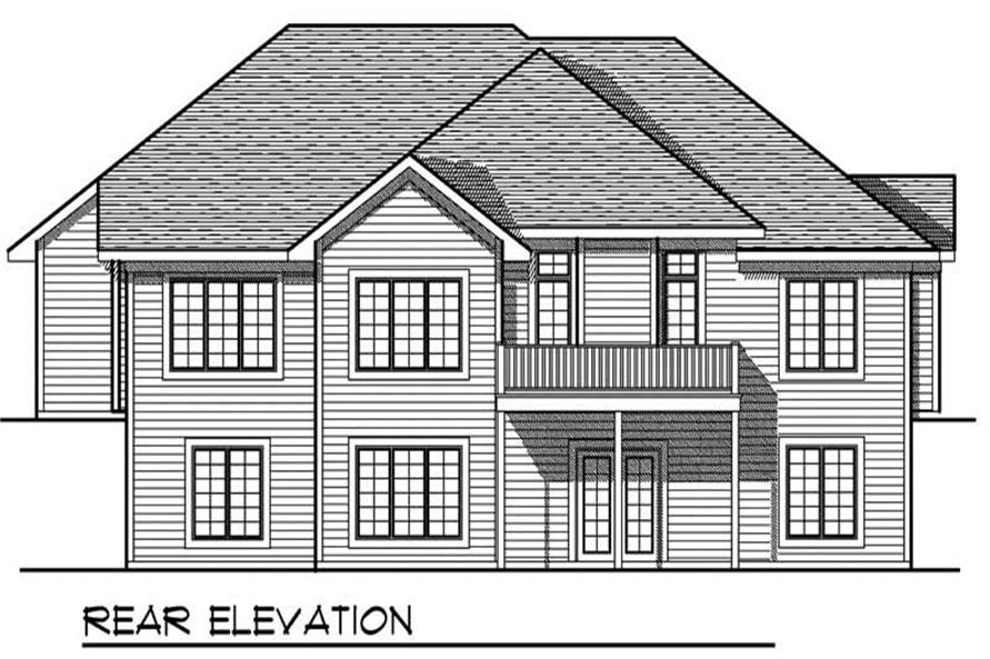 Home Plan Rear Elevation of this 5-Bedroom,3190 Sq Ft Plan -101-1707