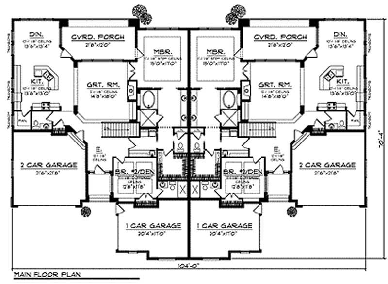 Multi unit home with 4 bdrms 6624 sq ft floor plan 101 for Quadruplex floor plans