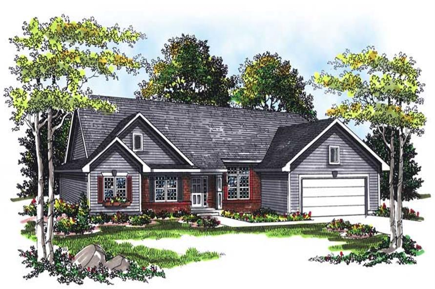 3-Bedroom, 1750 Sq Ft Ranch House Plan - 101-1729 - Front Exterior